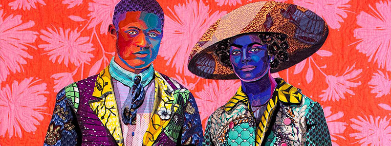 Artist Bisa Butler's quilt depicting two people made out of bright colored fabric against a pink and red floral background.