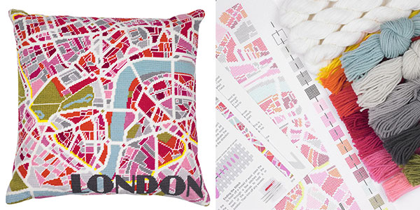 A pillow pillow with a needlepoint image of a map of London in different shades of pink, along with a photo showing the printed canvas and wool kit.