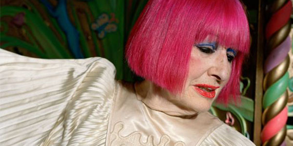 Fashion designer Zandra Rhodes with her signature hot pink hair is in an online conversation at the London Fashion and Textile Museum